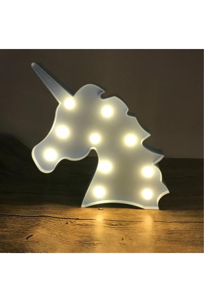 Milagros Beyaz Unicorn LED Lamba