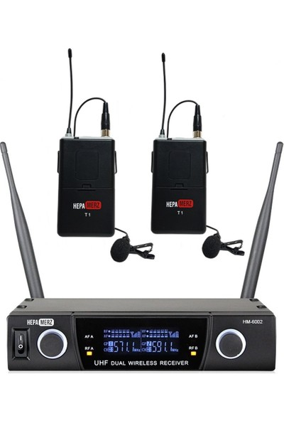 Hepa Merz HM-6002YY UHF Çiftli Telsiz Kablosuz Yaka Mikrofonu