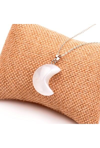 Taş Sandığı Beyaz Akik Taşı Ay Şeklinde Kolye