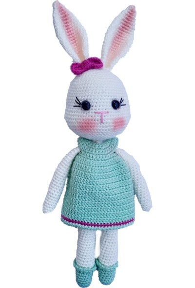 Amigurumi Örgü Uyku Arkadaşı Yeşil Elbiseli Tavşan Oyuncak