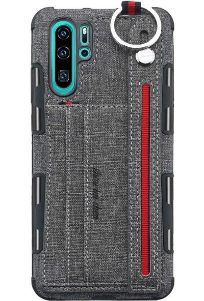 Tbkcase Huawei P30 Pro Kartlıklı Kumaş Spor Kılıf Gri