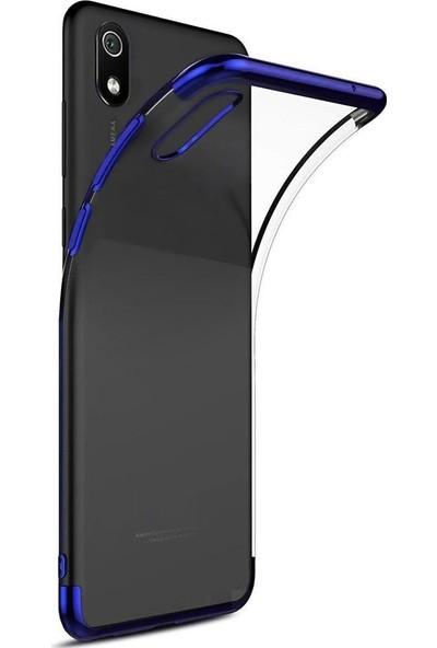 Tbkcase Xiaomi Redmi 7A Kılıf Lüks Lazer Silikon Mavi + Nano Ekran Koruyucu