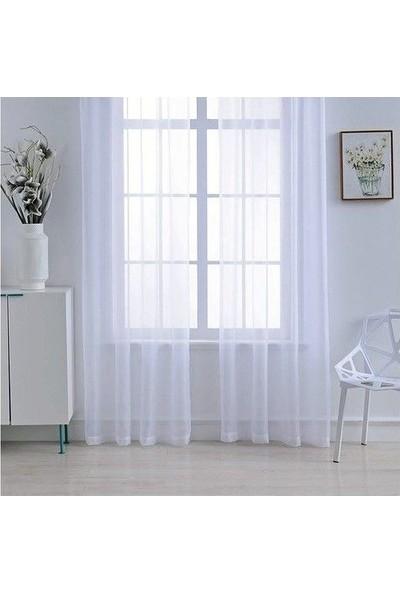 Güneş Perde Brillant Ekru (Kırık Beyaz) Düz Grek Tül 100 x 250 cm