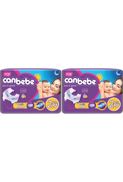 Canbebe Mini 2 Numara 52'li x 2 Paket 104 Adet Bebek Bezi
