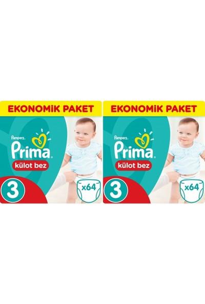 Prima Ekonomik Paket 3 Numara Külot Bez 64'lü x 2 Paket 128 Adet