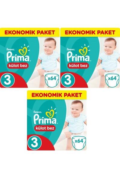 Prima Ekonomik Paket 3 Numara Külot Bez 64'lü x 3 Paket 192 Adet
