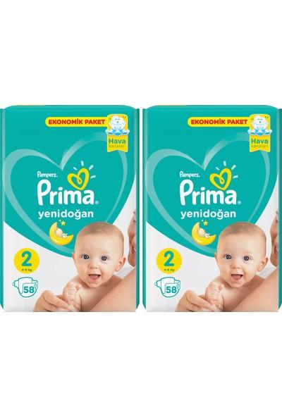 Prima Yeni Doğan 2 Numara 58'li x 2 Paket 116 Adet Bebek Bezi
