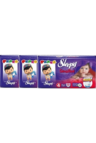 Sleepy Sensitive 4 Numara 30'lu x 3 Paket 90 Adet Bebek Bezi