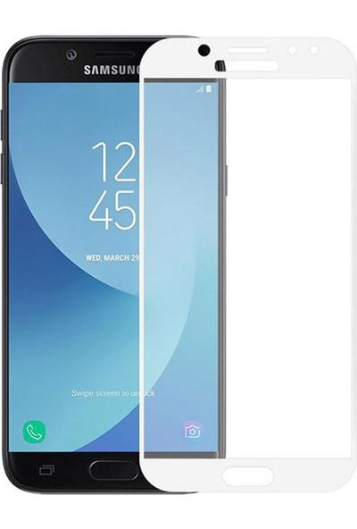 Microcase Samsung Galaxy C5 Pro Tam Kaplayan Tempered Glass Cam Koruma - Beyaz
