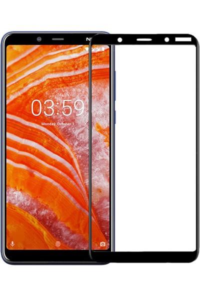 Microcase Nokia 3.1 Plus Tam Kaplayan Çerçeveli Tempered Ekran Koruyucu - Siyah