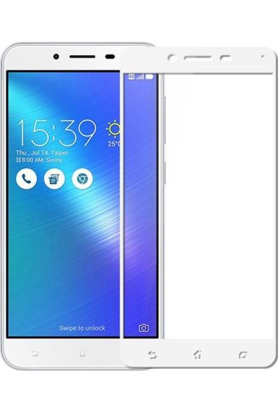 Microcase Asus Zenfone 3 Max ZC553KL Tam Kaplayan Çerçeveli Tempered Ekran Koruyucu - Beyaz