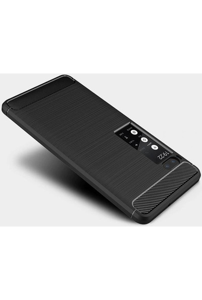 Microcase Meizu Pro 7 Brushed Carbon Fiber Silikon Kılıf - Siyah