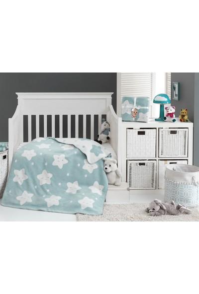 Dolce Bonita Home Pamuklu Bebek Battaniye Star Mint