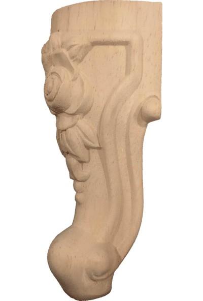Kök Ahşap Gül Desen Oymalı Koltuk Ayağı 15 cm