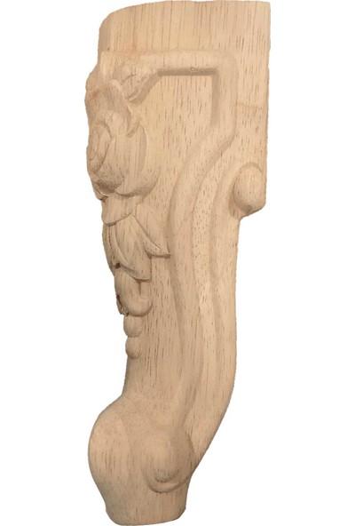 Kök Ahşap Gül Desen Oymalı Koltuk Ayağı 20 cm