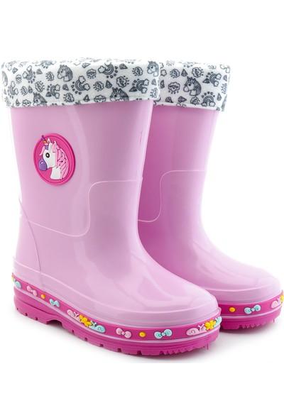 Kids World Su Geçirmez 1-012 Kız Çocuk Unicorn Desenli Yağmur Çizme