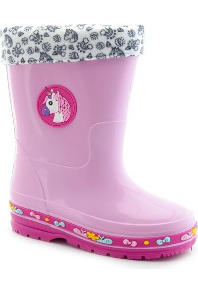 Kids World Su Geçirmez 012 Kız Çocuk Unicorn Desenli Yağmur Çizme
