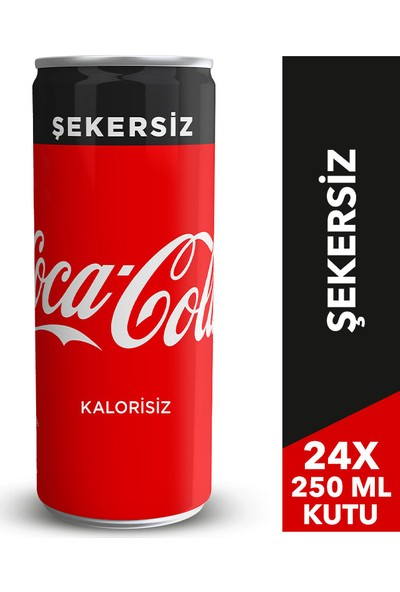 Coca-Cola Şekersiz 250 ml Kutu 24'lü Paket