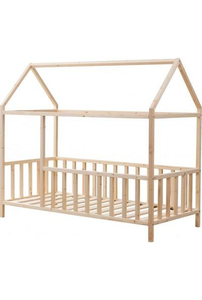 Okba Montessori Yatak Mobilya Kenar Korumalı Ahsap Yatak 90 x 190 cm