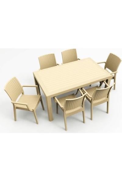 Rainbow Al Yazmalı 90 x 150 cm Camsız Masa 6 Sandalye 6 Minder 1 Sehpa Rattan Takım