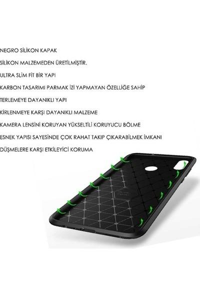 Kaltel Gsm Huawei Honor 8X Karbon Desenli Lux Negro Silikon Kılıf + Cam Ekran Koruyucu - Kahverengi