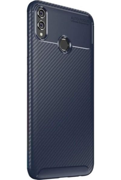 Kaltel Gsm Huawei Honor 8X Karbon Desenli Lux Negro Silikon Kılıf + Cam Ekran Koruyucu - Lacivert