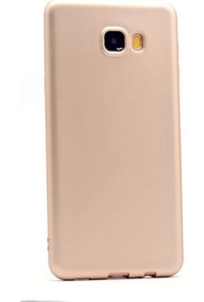 Kaltel Gsm Samsung Galaxy C9 Pro Mat Premier Silikon Kılıf + Cam Ekran Koruyucu - Gold
