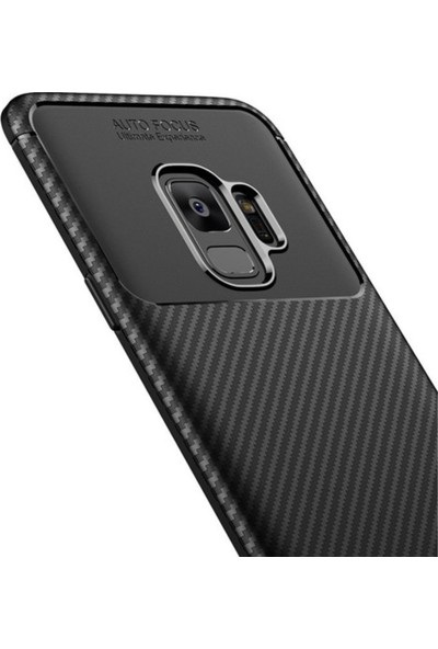 Kaltel Gsm Samsung Galaxy M10 Karbon Desenli Lux Negro Silikon Kılıf + Full Kaplayan Tüm Ekran Koruyucu - Lacivert
