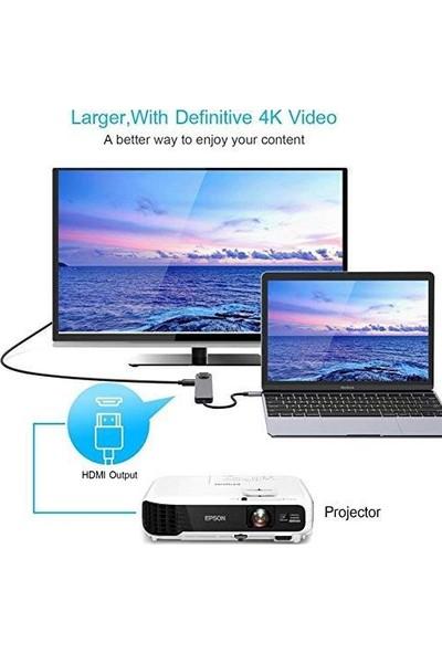 Mobitell Type-C To 4K HDMI RJ45 Lan 5 in 1 Dönüştürücü Çevirici Adaptör