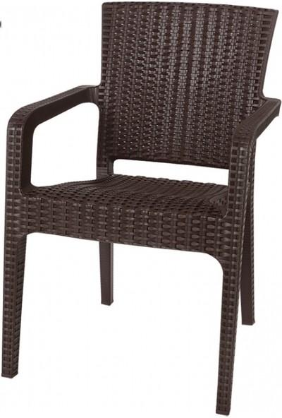 Comfort Alyazmalı 90 x 150 cm Masa 6 Sandalye 6 Minder 1 Sehpa Rattan Takım