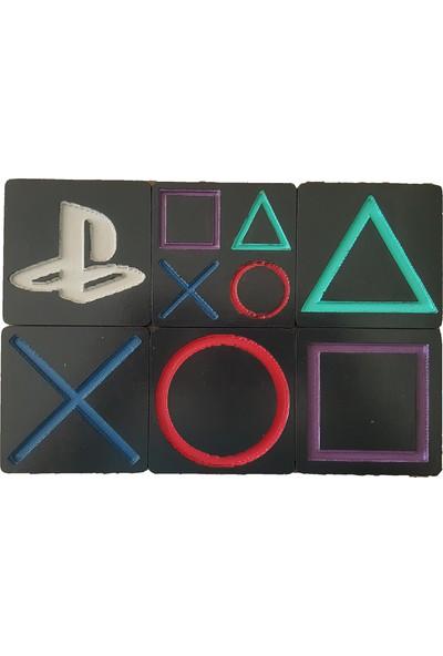 Kaizenwood Playstation Ikonları Bardak Altlığı