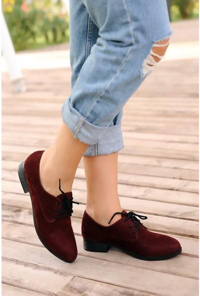 Pembe Potin Bordo Nubuk Kadın Ayakkabı