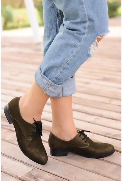 Pembe Potin Haki Süet Kadın Ayakkabı