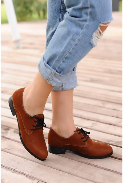 Pembe Potin Taba Nubuk Kadın Ayakkabı