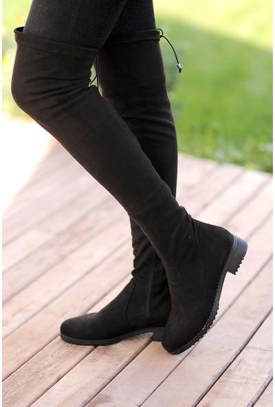 Pembe Potin Siyah Süet Kadın Çizme