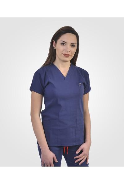 İba Medikal Flexcool Likralı Açık Lacivert Hemşire Forması