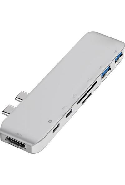 Mobitell Macbook Uyumlu 7in1 Type-C Hd 4K Card Reader & Hub