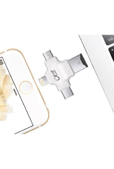 Mobitell iPhone + Microusb + Type-C Tf Kart Okuyucu Reader