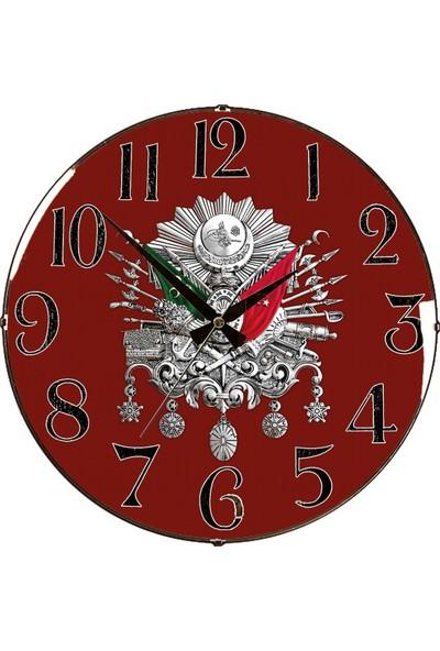 Rikon Osmanlı Tuğrası Dekoratif Bombe Camlı Duvar Saati 35X35 Cm