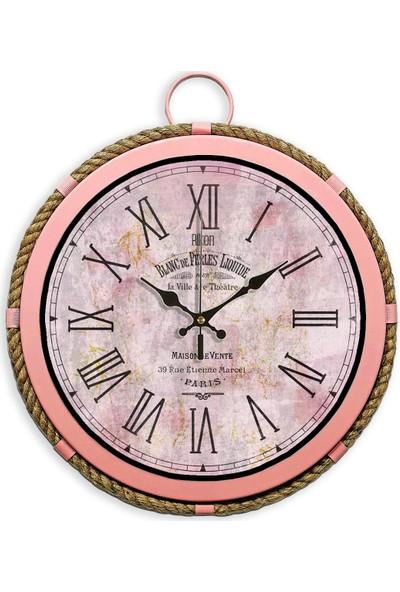 Rikon Büyük Boy Metal Pembe Halatlı Denizci Saati 35X35 Cm