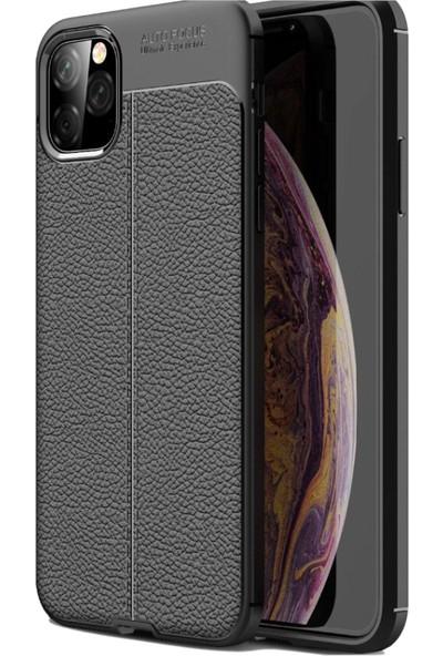 Tbkcase Apple iPhone 11 Pro Kılıf Deri Dokulu Silikon + Tam Kapatan Cam Siyah