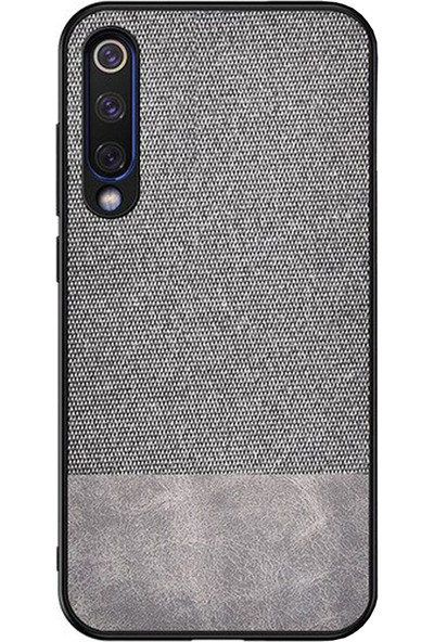 Microcase Xiaomi Mi CC9 - Mi A3 Lite Fabrik Serisi Kumaş ve Deri Desen Kılıf - Gri