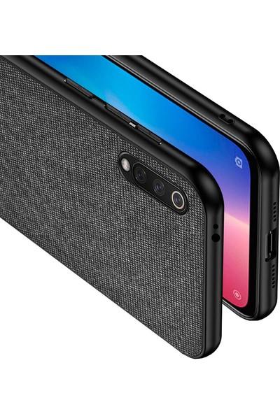 Microcase Xiaomi Mi CC9e - Mi A3 Fabrik Serisi Kumaş ve Deri Desen Kılıf - Siyah