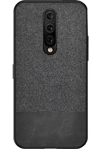Microcase OnePlus 7 Pro Fabrik Serisi Kumaş ve Deri Desen Kılıf - Siyah
