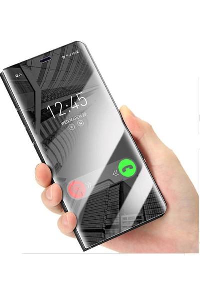 Microcase Huawei Enjoy 9 Aynalı Kapak Clear View Flip Cover Mirror Kılıf - Siyah