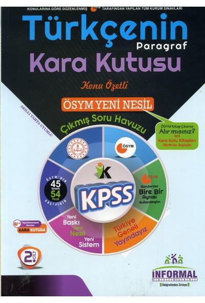İnformal Yayınları KPSS 2020 Türkçenin Kara Kutusu Paragraf Konu Özetli Soru Bankası