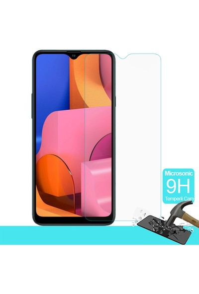 Microsonic Samsung Galaxy A20s Temperli Cam Ekran Koruyucu Şeffaf