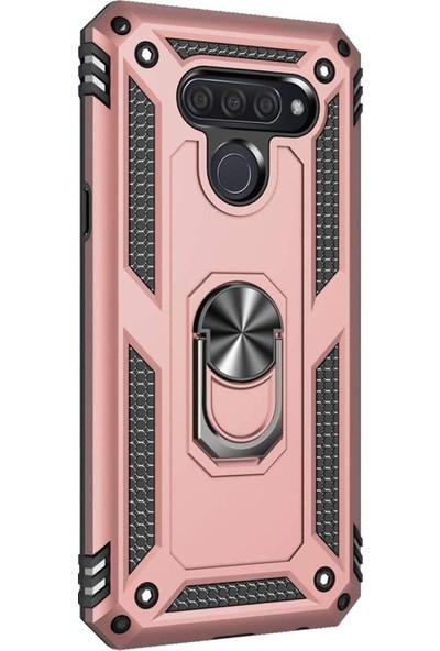 Microsonic LG Q60 Kılıf Military Ring Holder Rose Gold