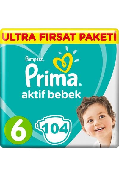 Prima Bebek Bezi Aktif Bebek 6 Beden 104 Adet Ekstra Large Aylık Fırsat Paket