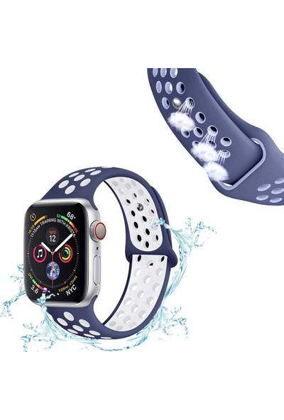 Case 4U Apple Watch Seri 5-4-3-2-1 Delikli Spor Kayış 42 mm - 44 mm Mavi - Turkuaz